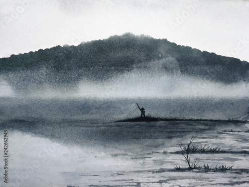 watercolor ink landscape the man fishing on the lake cover fog and mountain. asia  art painting. © atichat