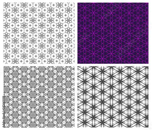Seamless flower pattern in linear style, vector - 242663318