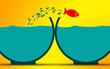 Leinwanddruck Bild - Fish jumps to empty fishbowl