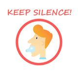 Keep Silence Sign - man with a light bulb in his mouth. Vector illustration