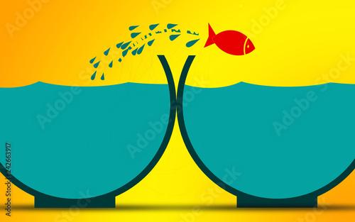 Leinwanddruck Bild Fish jumps to empty fishbowl