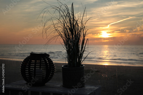 Dutch beach at Julianadorp. Coast Sunset - 242672112
