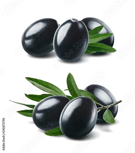 Black olives set isolated on white background