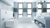 Helles Badezimmer mit Badewanne und Bidet - 242675558