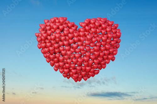 Rote Herz Ballons zur Hochzeit am Himmel