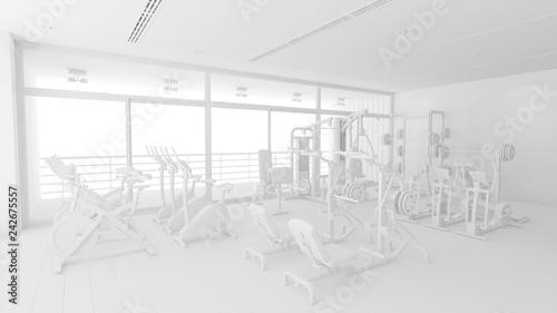 Fitnesscenter mit Geräten ganz in weiß