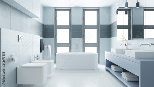 Leinwandbild Motiv Helles Badezimmer mit Badewanne und Bidet