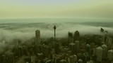 Foggy misty morning over Sydney City Skyline with fog streaming between the buildings. - 242676709
