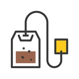 Tea bag vector, coffee related filled style editable stroke icon