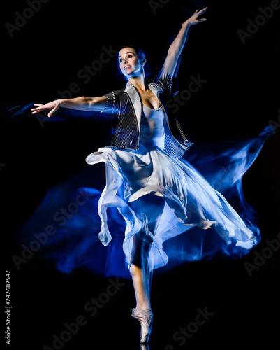 one caucasian woman modern ballet dancer dancing woman studio shot isolated on black bacground - 242682547