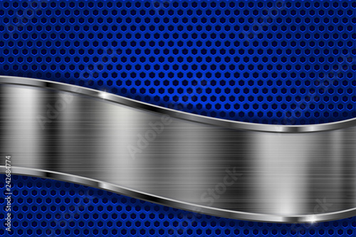 Perforated background with blue metal shiny wave plate