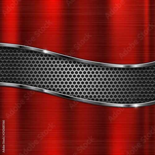 Brushed metal texture. Red scratched metallic surface with perforation