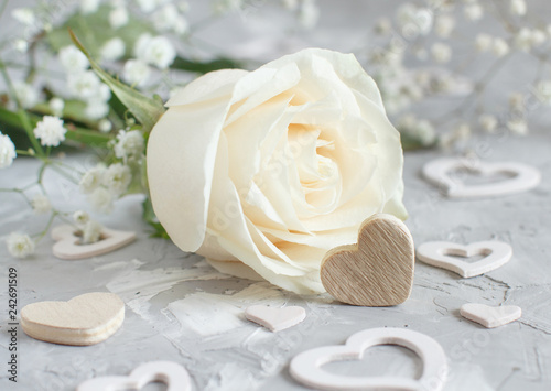 Cream rose with hearts