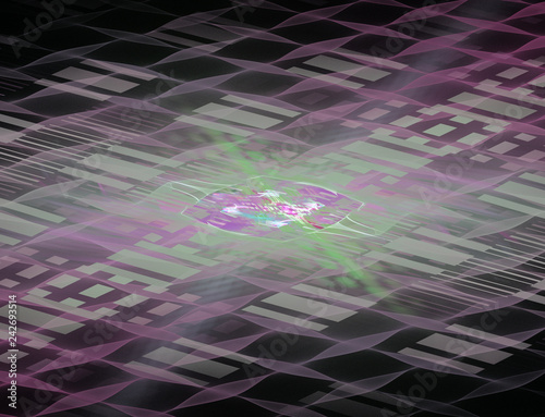Futuristic techno background, abstract illustration of a cell field in perspective.