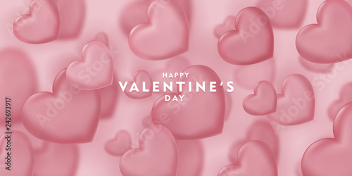valentines day, 14th February, love day, 3d red hearts blur efect design romantic love day Celebration card vector illustration