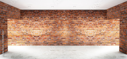 Empty room with old brick walls, large windows, bright rooms, sunlight. 3D illustration - 242695362