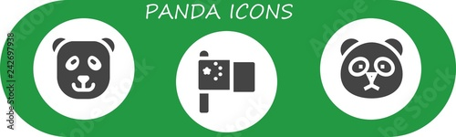 Vector icons pack of 3 filled panda icons