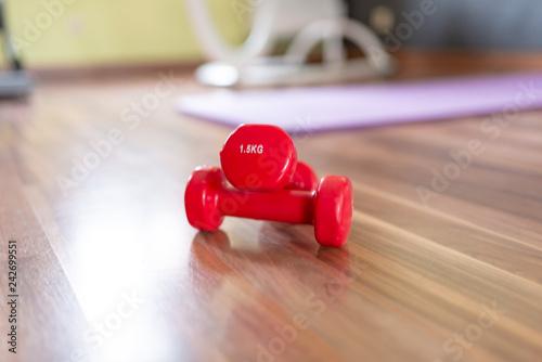 Leinwanddruck Bild kleine Hanteln auf dem Boden