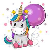 Cute Cartoon Unicorn with Balloon - 242702342