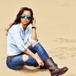 Fashion woman in jeans clothes