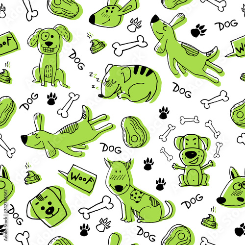 obraz lub plakat Hand doodle with funny green dogs, paw prints and bones. Vector seamless pattern wallpaper, background. Cute surface design for fabric, textile design, wrapping paper