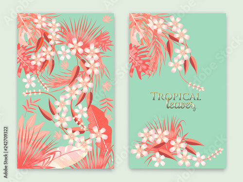 Tropical vector set background in Living Coral color.