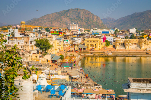 Panoramic view on Holy Lake and city Pushkar, Rajasthan, India.