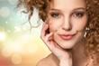 Leinwanddruck Bild - Portrait of beautiful young woman with    make-up