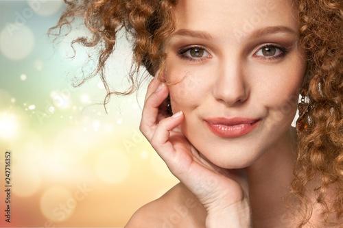 Leinwanddruck Bild Portrait of beautiful young woman with    make-up