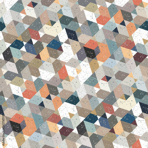 obraz lub plakat Abstract seamless pattern of many triangles. Pattern with a geometric texture in grunge style.