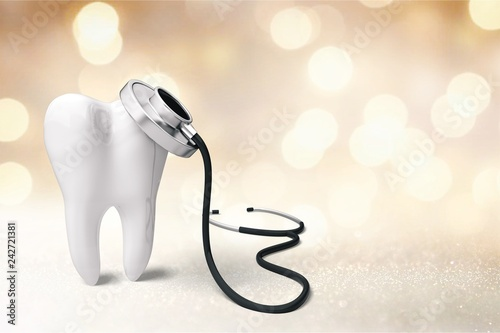 fototapeta na ścianę Dentist mirror tooth white background isolated shape