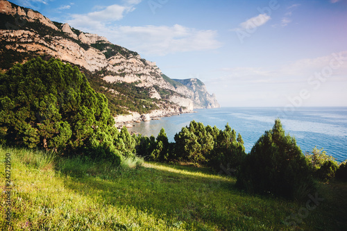 Blue sea in the morning light. Location place Black Sea, Crimea.