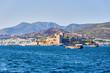 Yacht on the sea, beautiful bay in Turkey, Bodrum. Aegean coast