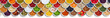 Leinwandbild Motiv Früchte Beeren Gemüse Obst Nüsse Gewürze Zutaten Banner von oben