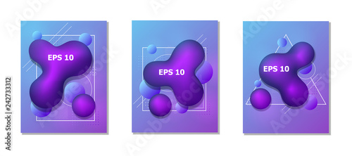 Abstract fluid creative templates, cards, color covers set. Geometric design shapes. Vector. - 242733312