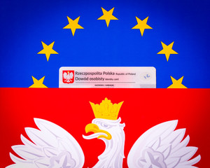Polish id card on the background of the Polish and European flag
