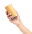hand holding can box craft brown tube packaging isolated on white background