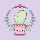 love card with cactus kawaii - 242761508