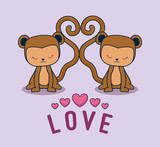 love card with monkeys couple - 242761524