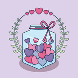 love card with jar and hearts - 242761541