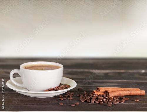 Top view of black coffee in white cup isolated on white