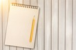 Leinwandbild Motiv Open blank notebook on background