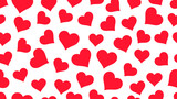 Red Hearts on white background Valentine's day seamless pattern - 242768549