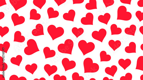 Red Hearts on white background Valentine's day seamless pattern