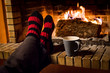 Leinwandbild Motiv warming in a fireplace