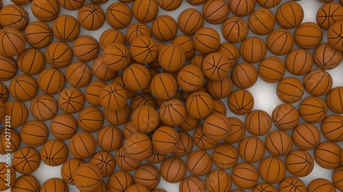 Animated top view and rotating around pile of basketballs fallen on white background. Full 360 degree spin and loop able.
