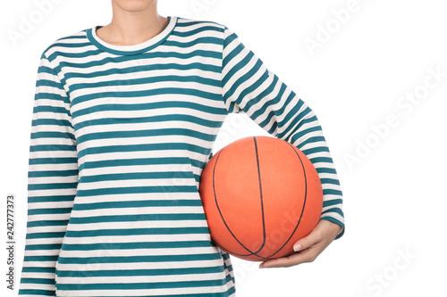 hand holding basketball orange rubber isolated on white background