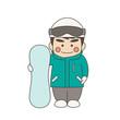 男性キャラクタースノーボード