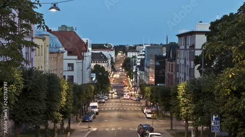 Obraz na płótnie Cityscape with traffic and old buildings