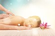 Leinwanddruck Bild - Beautiful young woman relaxing with  massage at beauty spa